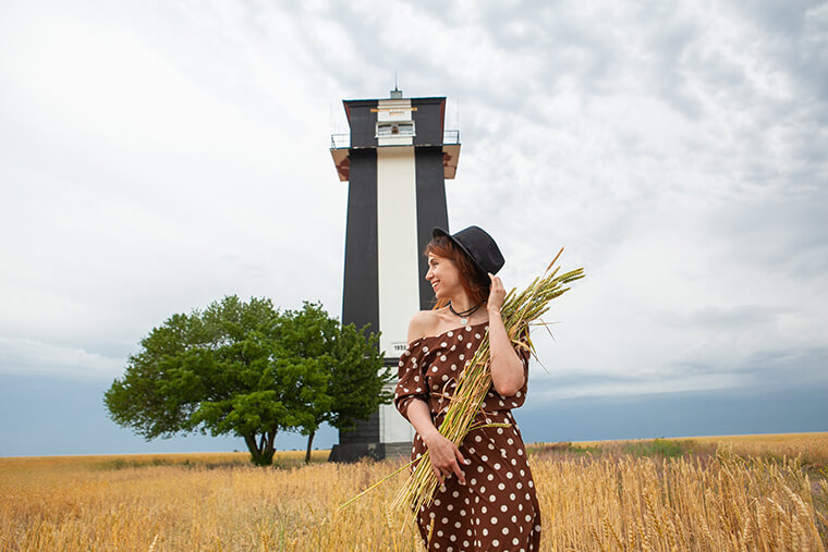 Girl and lighthouse