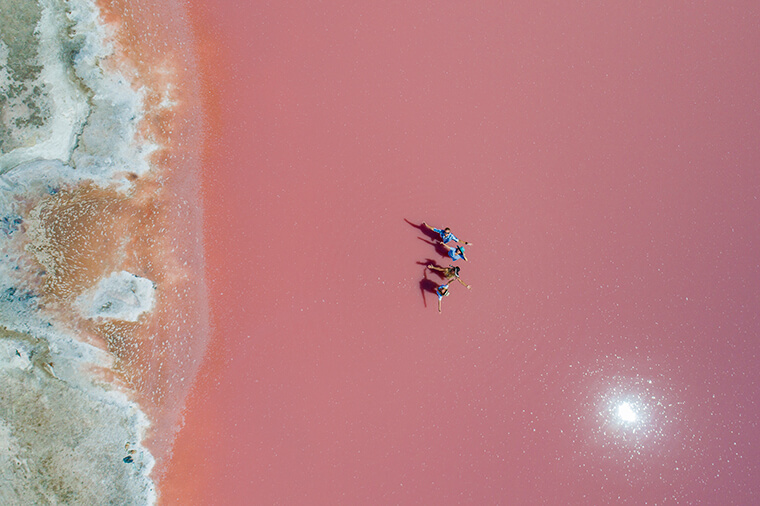Photos on the background of pink lake