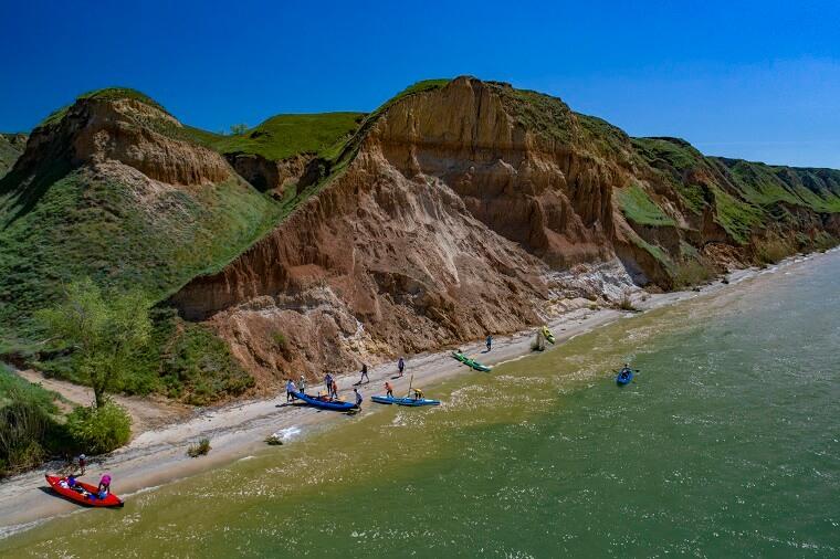 Kayaks near rocks
