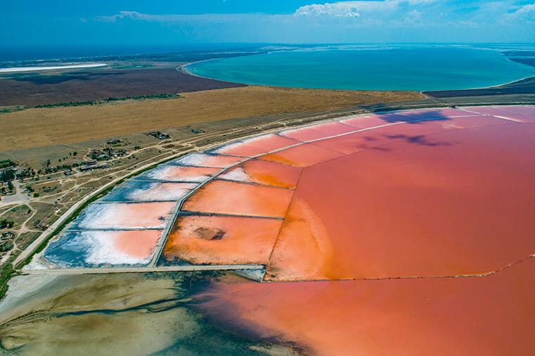 Pink colour of lake