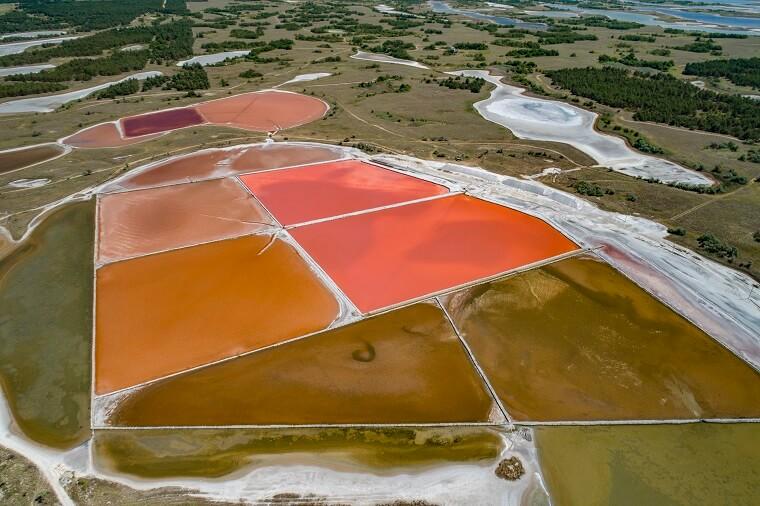 Salty pink lakes on Kinburn