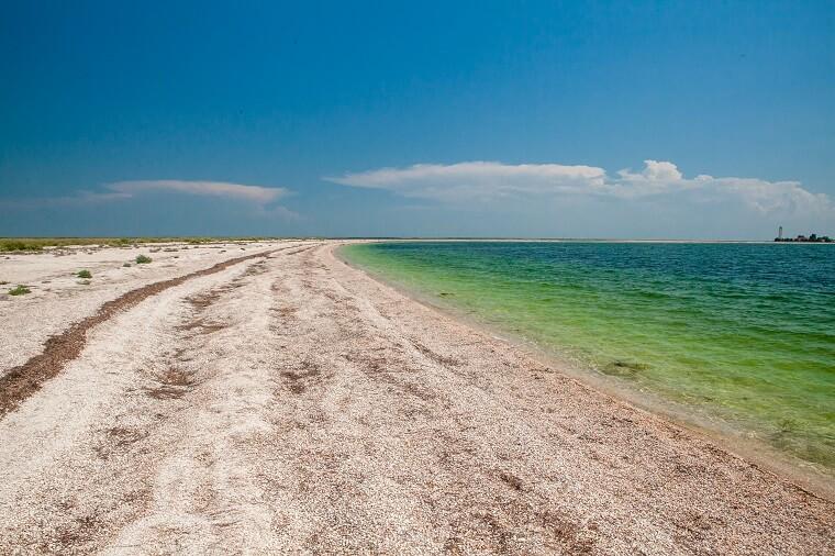 Coast line of Byriuchyi Island
