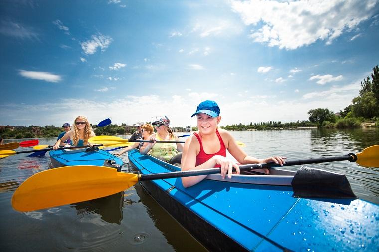 Children during kayaking trip