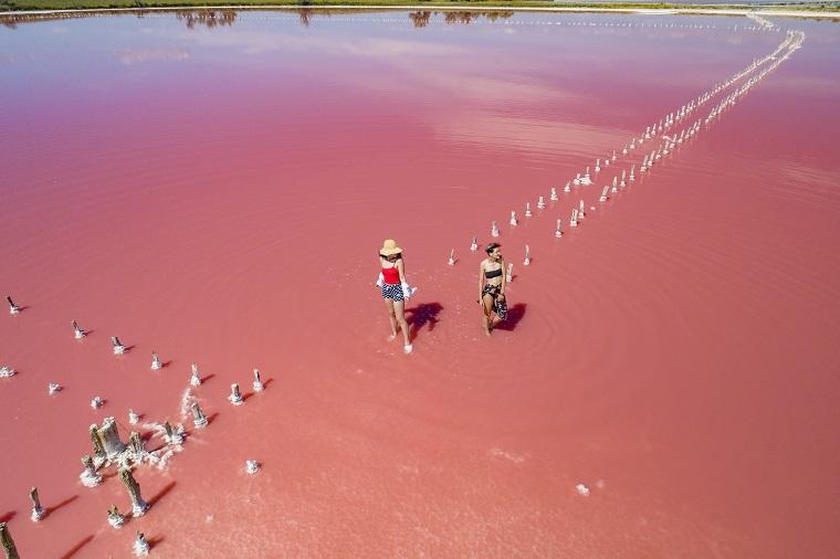 Яскраві фото на тлі рожевих озер