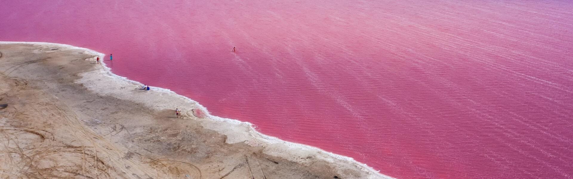 Pink Lake in Village of Ivanivka