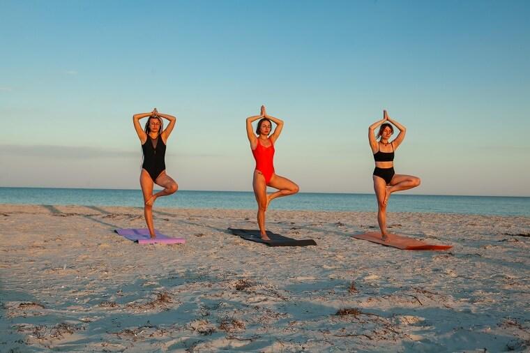 Yoga on sand