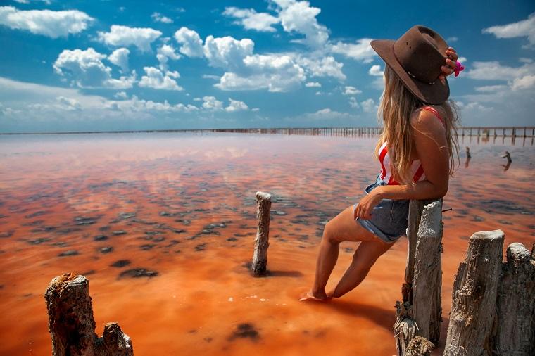Pink lake in Pryozerne